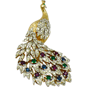 PANETTA  Gold Plated Rhinestone Peacock Figural Pin Brooch