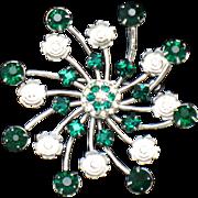 BOND BOYD Sterling Silver Emerald Rhinestone Floral Brooch Pin and Pendant