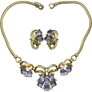 JOMAZ Vintage Lilac Crystal Rhinestone Choker Necklace and Earrings Set