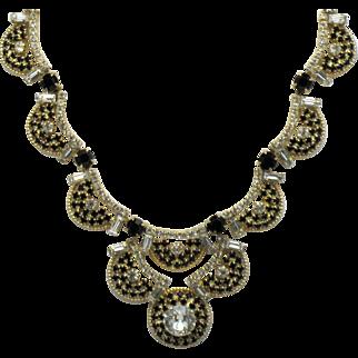 Classy HOBE Black Clear Rhinestone Choker Necklace