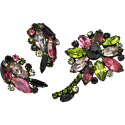 ALICE CAVINESS Rhinestone Flower Brooch Earring SET
