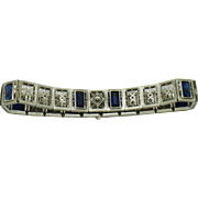 ART DECO Sterling Silver Etched Sapphire Paste Filigree Bracelet