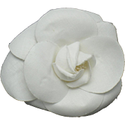 Authentic CHANEL Off White Fabric Camellia Brooch with Chanel Box