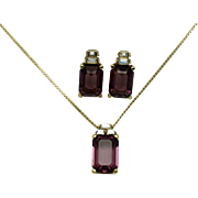 CHRISTIAN DIOR Amesthyst Crystal Necklace & Post Earrings SET