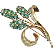 COROCRAFT Coro Craft STERLING Rose Gold Rhinestone Pave Flower Brooch
