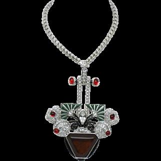 ART DECO 89  Flower Basket Pendant Necklace ORIG BOX Never Worn