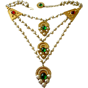 MOSELL  Baroque Pearl Moghul Glass Cabochon Bib Necklace