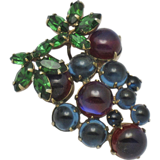 Signed SCHREINER NY Faux Ruby Sapphire Glass Cabochon Grapes Brooch Pin