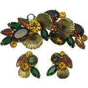Verified DeLizza & Elster JULIANA Fall Colors Brooch Earrings Set Book Piece