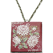 TOSKIKANE Arita Japan Pink Porcelain Flower Brooch Pendant with Chain