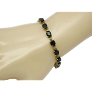 10K Yellow Gold Natural Midnight Sapphire Link Bracelet 8.5 Grams
