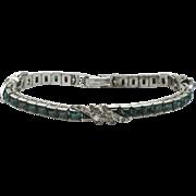Signed OTIS STERLING Emerald Green Paste  Art Deco Bracelet