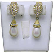 Vintage CHRISTIAN DIOR Crystal Simulated Pearl Dangle Earrings