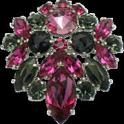SCHIAPARELLI Inverted Crystal Rhinestone Brooch Pin