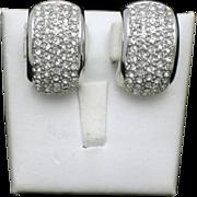 Vintage CHRISTIAN DIOR Rhinestone Half Hoop Clip Earrings
