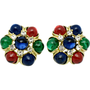 CINER Moghul Style  Cabochon Vintage Earrings 1.5 Inch Large Mint