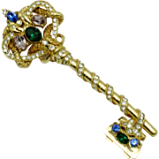 TRIFARI Vintage  Rhinestone Serpent Key Brooch Pin