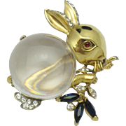TRIFARI STERLING Gold Plated Philippe Jelly Belly Rabbit Brooch Pin 1943