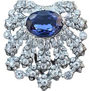 Fabulous EISENBERG ORIGINAL Faux Sapphire Dress Clip Pin
