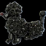 Vintage Signed SCHREINER New York Black Rhinestone Poodle Figural Brooch