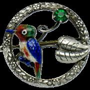 Sterling Silver WARD BROS Enamel Bird Figural Brooch Pin
