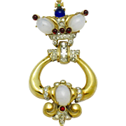 1946  CORO CRAFT Sterling Gold Plated Moonstone Door Knocker Pin Brooch
