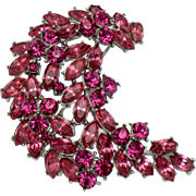 TRIFARI  Fuchsia Pink Rhinestone Spray Pin Brooch