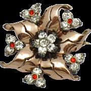 PENNINO STERLING 18K Gold Plated Rhinestone Flower Brooch Pin