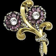 MAZER STERLING Amethyst Purple Rhinestone Double Flower Brooch Pin