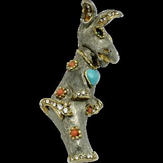 Vintage 1960s  K.J.L. Kenneth Jay Lane Fantasy Animal Collection Donkey Pin
