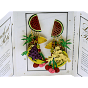LUNCH AT THE RITZ  Fruit Cocktail Dangle Earrings - Original Menu Card