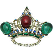 1944 COROCRAFT Sterling Gold Plated  Rhinestone Cabochon Crown Brooch Pin