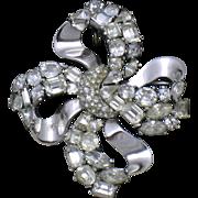 TRIFARI  Jeweled Symphony Bow Knoy Rhinestone Brooch Pin and Pendant