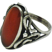 Antique Victorian Sterling Silver Carnelian Double Snake Ring