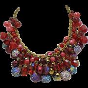 Vintage WEST GERMANY Crystal  Multi Strand Choker Necklace