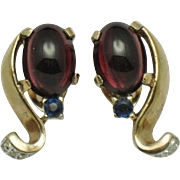 Vintage 1946 TRIFARI Philippe Faux Ruby Sapphire Moghul Style Moonstone Earrings