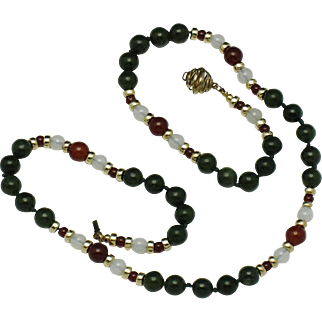 Vintage Nephrite Jade Carnelian White Agate Hand Knotted  Necklace
