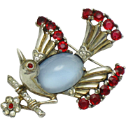 TRIFARI Sterling Vermeil  Bird on a Branch Pin Brooch 1940's Philippe