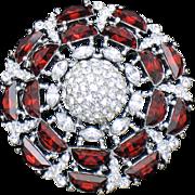 Siam Red Demi Lune Crystal Rhinestone Pin Brooch Rhodium Plate