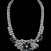 SCHOFFEL AUSTRIA Purple Amethyst Rhinestone Choker Necklace