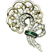 BOUCHER Vintage 1950s Gold/Rhodium Plated Rhinestone Brooch
