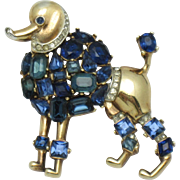 TRIFARI Philippe 1950 Jeweled Symphony  Poodle Figural Brooch Pin