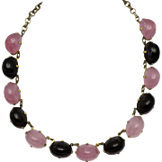 SCHIAPARELLI  Pink Purple High Domed Cabochon Choker Necklace