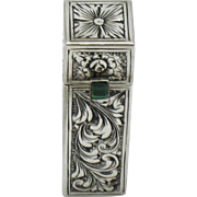 ART DECO  800 Silver Chased Lipstick  with Mirror 1930s