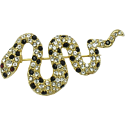 KJL Kenneth Jay Lane Rhinestone Coiled Snake Figural Brooch Pin