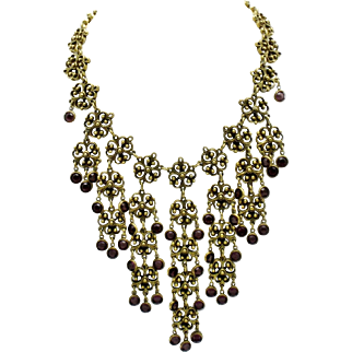 Gorgeous Signed GOLDETTE Gold Plated Amethyst Glass  Waterfall Bib Necklace