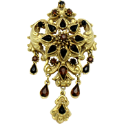 FLORENZA  Rhinestone Garnet Dangle Brooch Pin and Pendant
