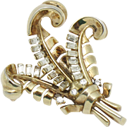 TRIFARI Philippe Pat Pend Rhinestone Feather Plumes Brooch