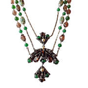 ART DECO  Crystal Foiled Art Glass Festoon Necklace