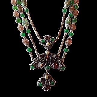 ART DECO  Crystal Foiled Art Glass Festoon Necklace